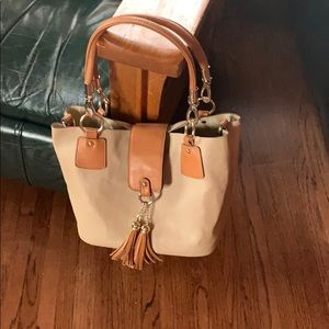 Bag in a bag tan beige tote and crossbody
